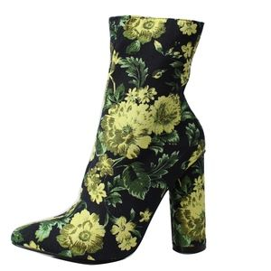 Yellow Floral Pointy Toe Cylinder Block Ankle Boot